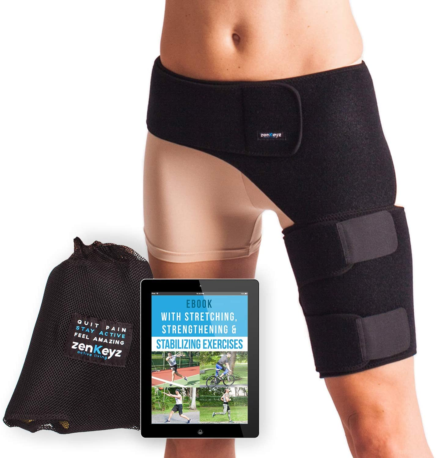 Groin Support and Hip Brace for Men & Women- Compression Wrap for Thigh Quad Hamstring Joints Sciatica Nerve Pain Relief Zenkeyz Leg Strap: Sports & Outdoors