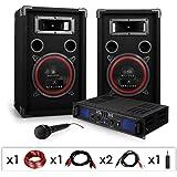 DJ-14 Equipo de sonido profesional PA 500W (Amplificador potencia 500W, 2 altavoces 2x 200W RMS, micrófono dinámico, cable altavoz, RCA, adaptador Jack)