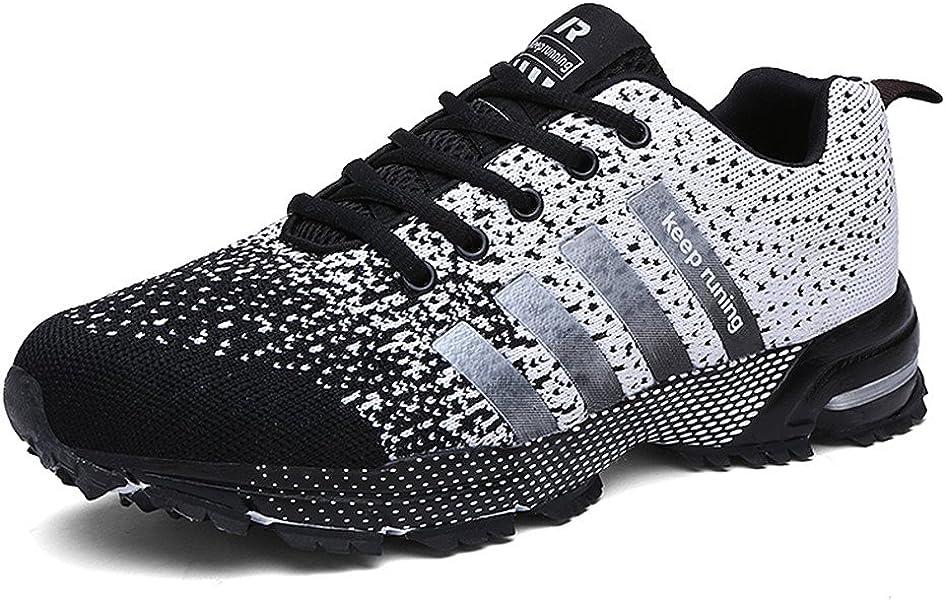 Sollomensi Zapatos para Correr en Montaña y Asfalto Aire Libre y Deportes Zapatillas de Running Padel para Hombre Gris 41