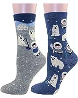 Carahere Women's Cotton Animal Print Patterned Soft Fun Crew Socks 2 Pairs