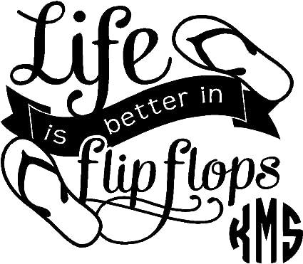 Amazon Com Yeti Cup Life Is Better Sandals Monogram Sticker
