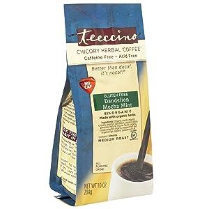 Teeccino Dandelion Coffee Alternative – Mocha Mint – Organic Dandelion Root, Prebiotic, Caffeine Free, Gluten Free, Acid Free, Brew Like Loose Leaf Herbal Tea or Coffee, 10 Ounce