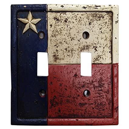 Weathered Texas Flag Design Resin Double Switch Cover Plate