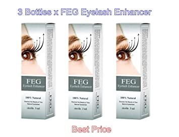 6d3d4d4f813 Amazon.com: 3 X FEG Eyelash enhancer!!! 3 pieces of most powerful eyelash  growth Serum 100% Natural. Promote rapid growth of eyelashes!: Beauty
