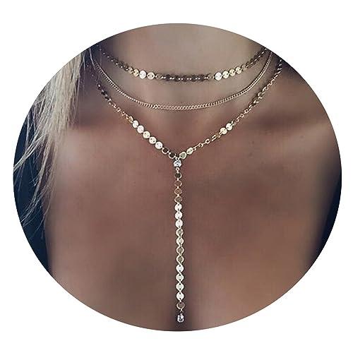 Beydodo Collares Mujer Joven Largos Bisuteria Lentejuelas Collar Para Mujer Colgante Collar Oro: Amazon.es: Joyería