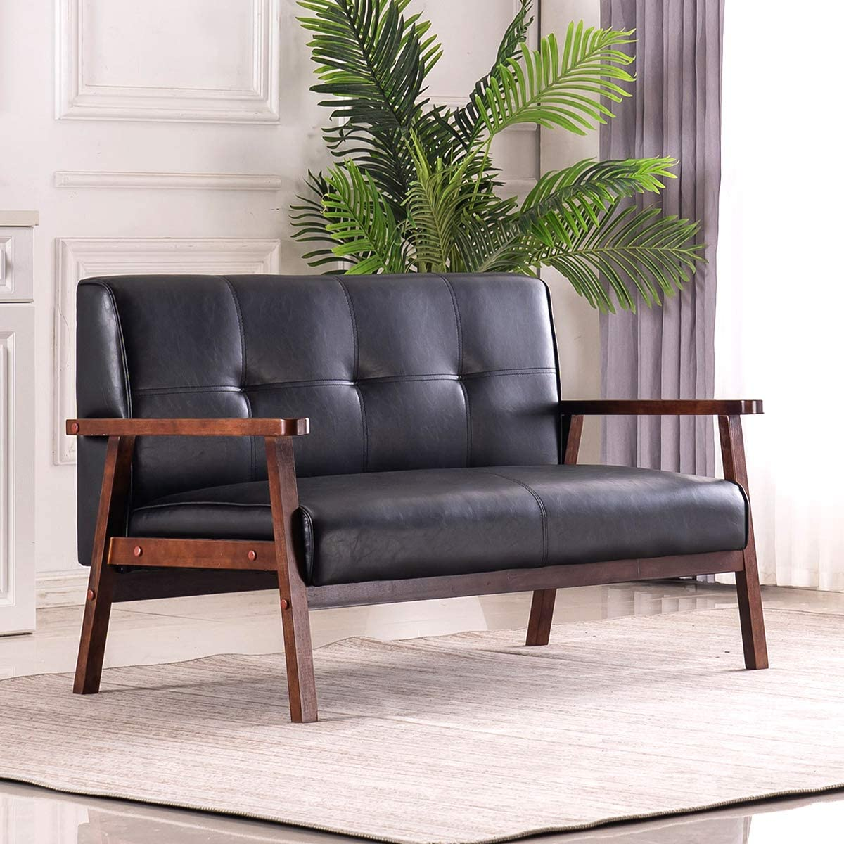 Mid-Century Retro Modern Loveseat Faux Leather Upholstered Wooden 2-Seater Sofa (Black)