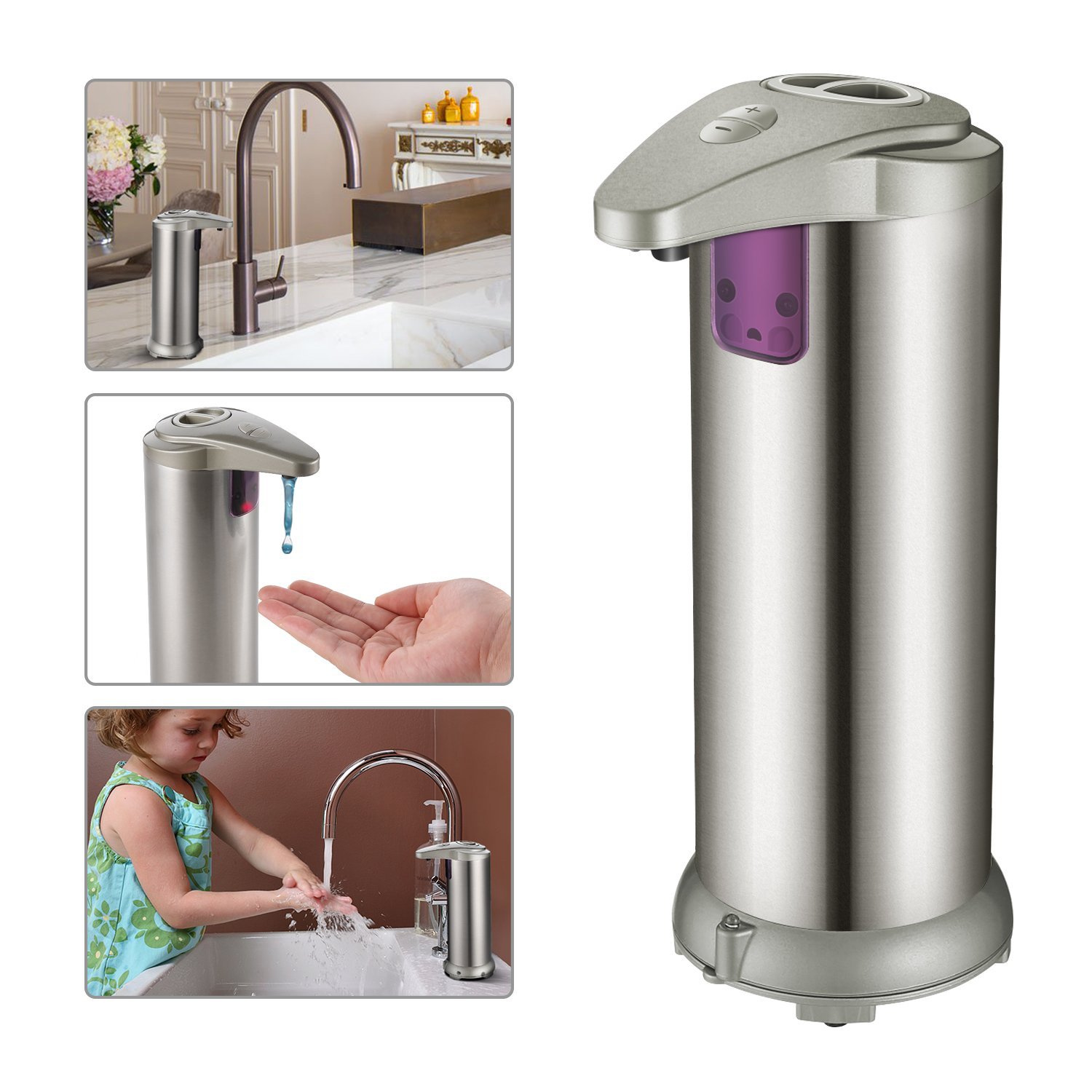 Automatic Soap Dispenser, HOMTOYOU 280ML Soap Dispenser, Stainless Steel Hand Soap Dispenser, Touchless Hands-Free Motion Sensor Liquid Soap Dispensers Powered by 4PCS AAA (Not Include), Automatic Soap Dispensers with Waterproof Base for Kitchen and Bathr