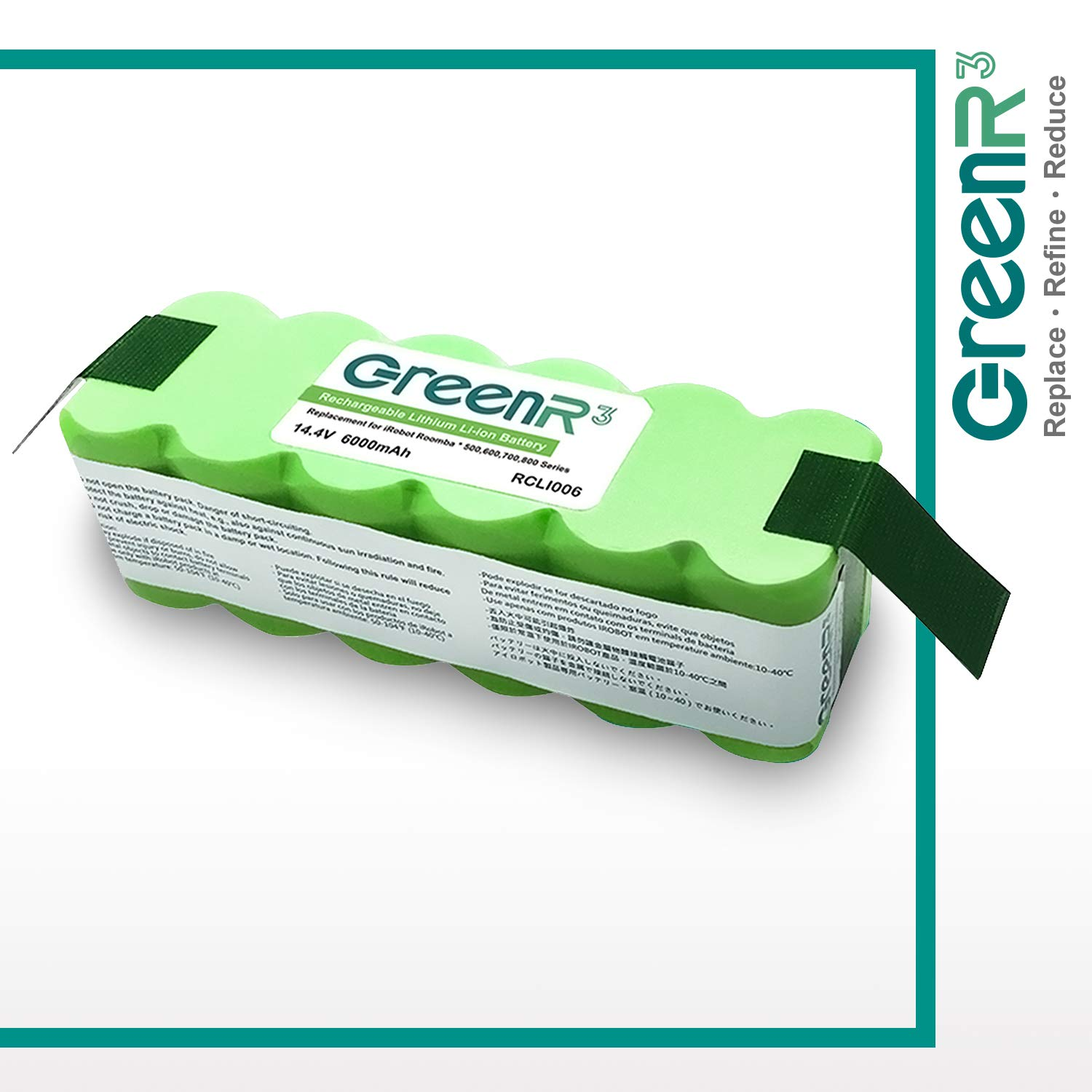 GreenR3 6000mAh 6.0Ah Lithium Battery for iRobot Roomba 80501 compatible with 500 600 700 510 520 530 531 532 535 536 540 550 551 560 570 580 650 680 690 760 770 790 Model 1-PACK by GreenR3