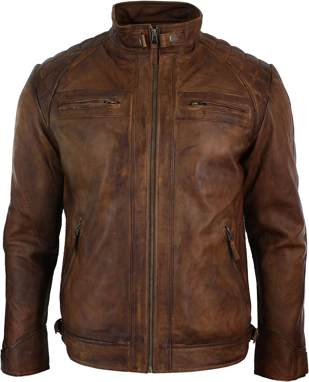 Chaqueta de motociclista para hombre, estilo retro, con cremallera, piel lavada, suave, marrón
