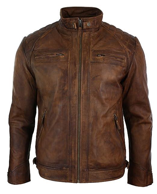 Giacca Corta Nocciola da Uomo in Vera Pelle con Zip Biker Retro Vintage  Casual nocciola  Amazon.it  Abbigliamento 2d8d31d21aa