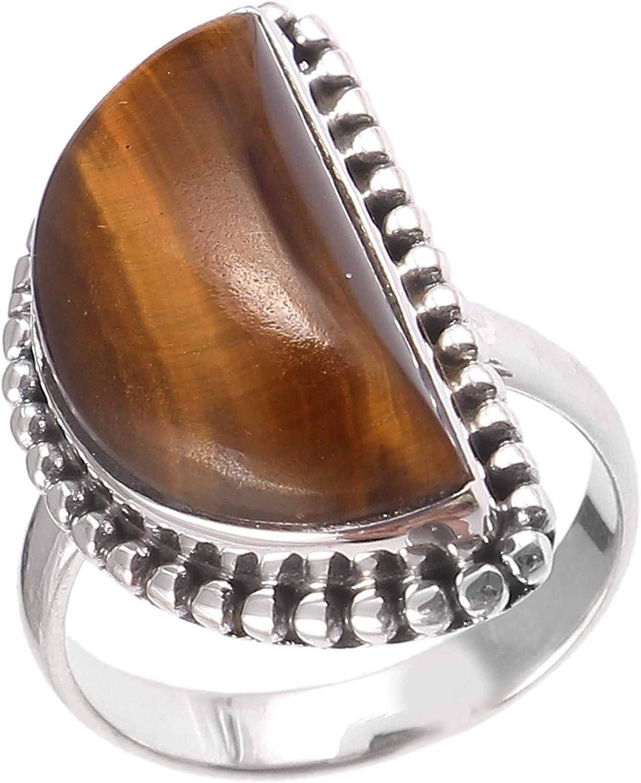Anillo de plata de ley 925 para mujer|anillo de piedra preciosa natural ojo de tigre|Banda de boda para las mujeres|Piedras preciosas anillo, anillo de compromiso|Tamaño del anillo 14.5 (R-21)