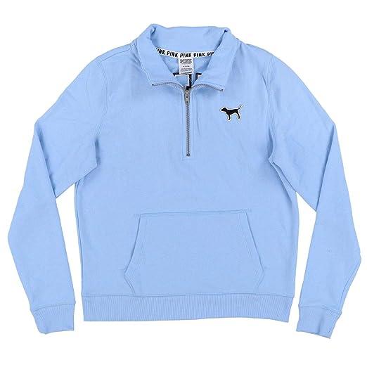 Victorias Secret Pink Quarter Zip Sweatshirt M Light Blue At