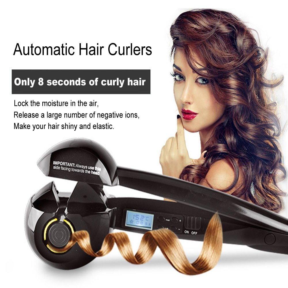 Amazon.com: Professional Ceramic Hair Curler, Fashion Hair Curling Iron Roller Wave Curl, Auto Heating Hair Curling Wand Styling DIY Hair Tools, ...