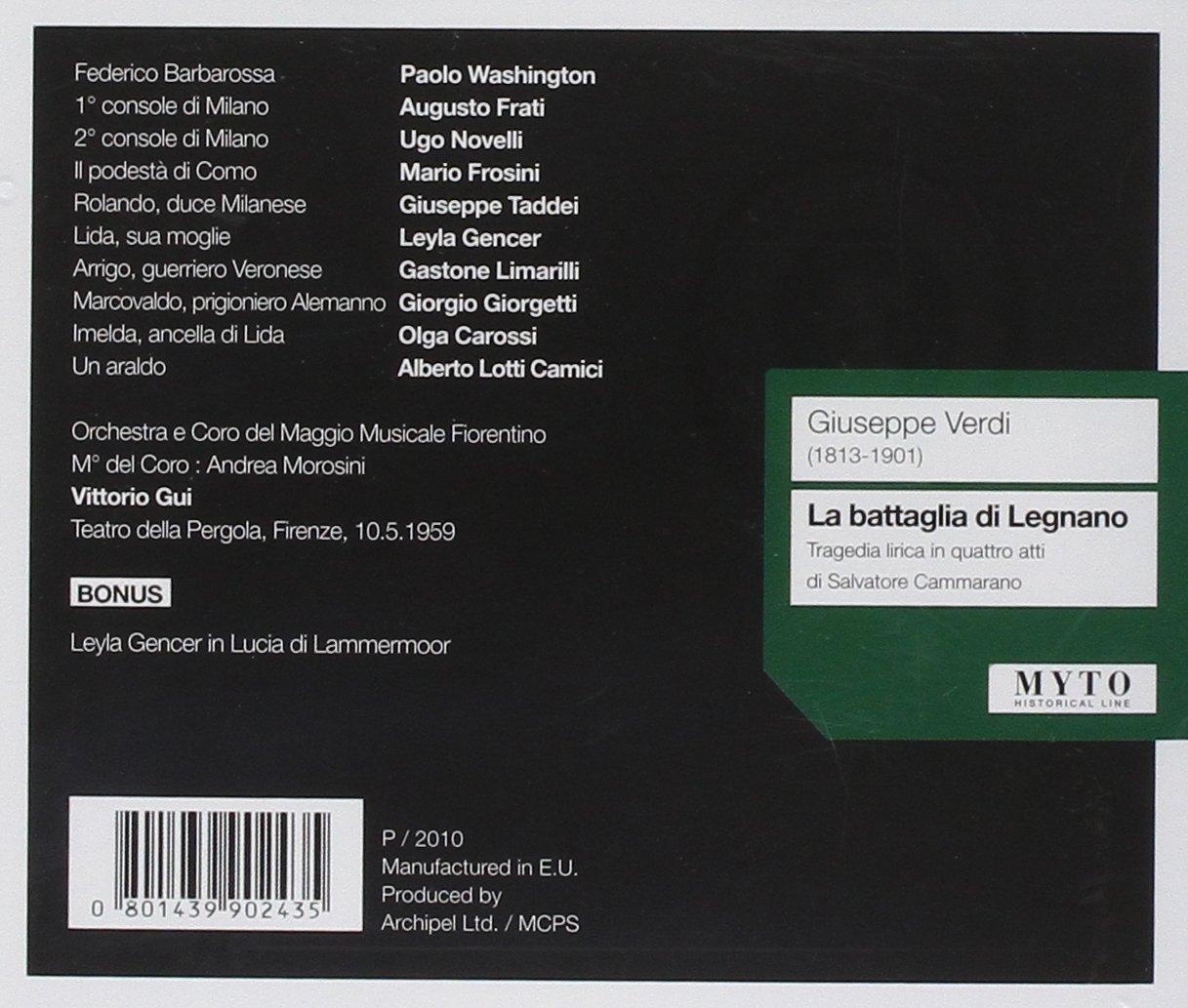 La Battaglia Di Legnano -Limarilli: Gencer/Limarelli/Taddei, VERDI: Amazon.es: Música