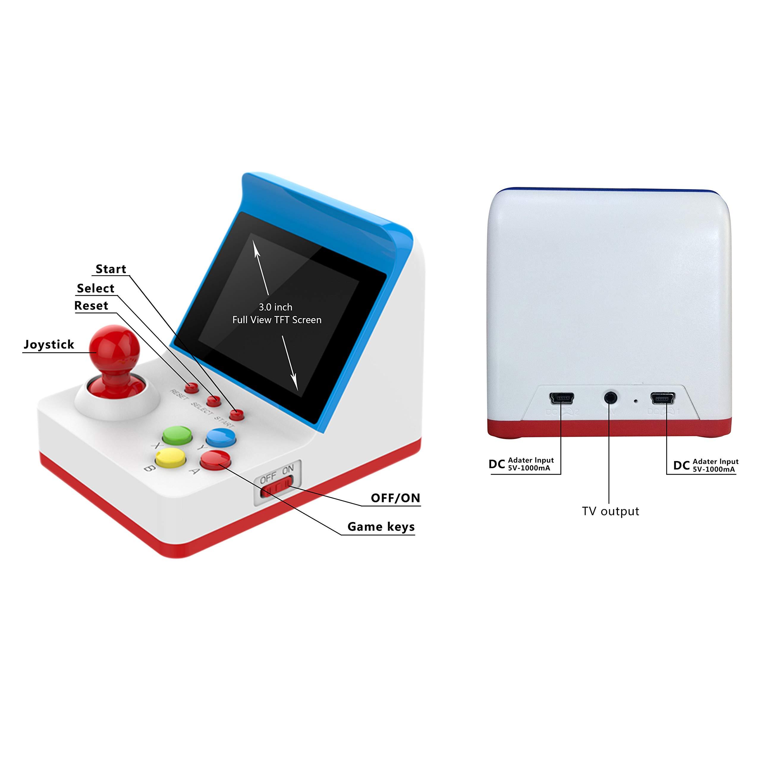 BAORUITENG Handheld Game Console, Retro FC Game Console Video Game Console with 3 Inch 360 Classic Games with 2 Joysticks , Birthday Present for Children (red) by BAORUITENG (Image #2)