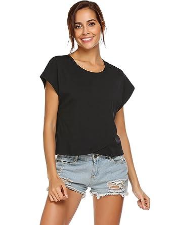 d3047885e0c8a Justrix Women s Plain Tee Shirt Summer Casual Short Sleeve Crop Top Black S