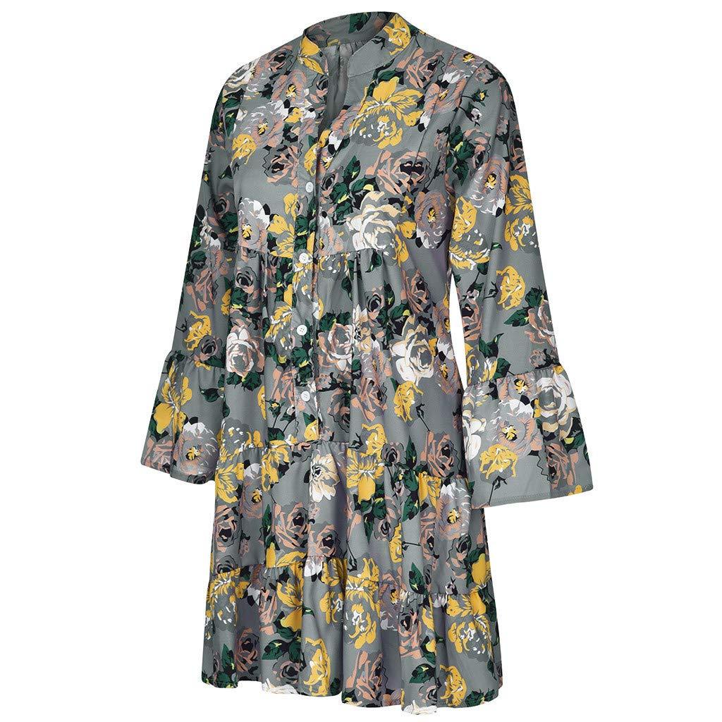 Lomsarsh Women's Dress, Ladies Loose Print Three Quarter Sleeve Mini Dress V-Neck Large Size Dress Summer Dress Casual Summer Short Mini Dress Sundresses