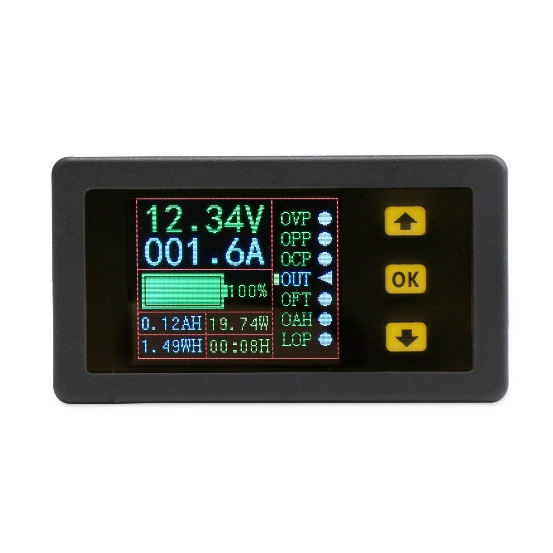 DollaTek multim/ètre num/érique DC 0-90V 100A voltm/ètre amp/èrem/ètre amp/èrem/ètre amp/èrem/ètre Puissance Watt Capacit/é Compteur de Temps Testeur de Batterie Moniteur avec /écran LCD Cap