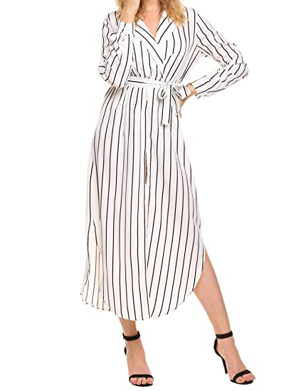 d82ce75cc79 UNibelle Women s Striped Dress V-Neck Collar Tie Front Loose Fitting Long  Dress White M. Roll over image to zoom in