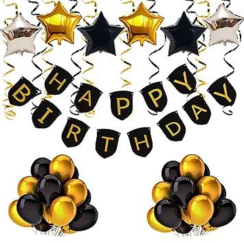 iFeliz cumpleaños Pancartas, Oro Negro Birthday banner ...