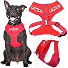 CAUTION (Do Not Approach) Red Colour Coded Non-Pull Front and Back D Ring Padded and Waterproof Vest Dog Harness PREVENTS Accidents By Warning Others Of Your Dog In Advance (M)