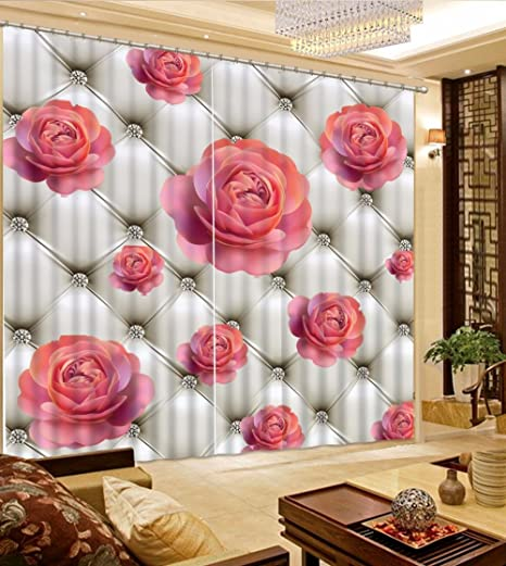 Sproud Blackout Window Curtain Red Rose Curtains For Living Room ...