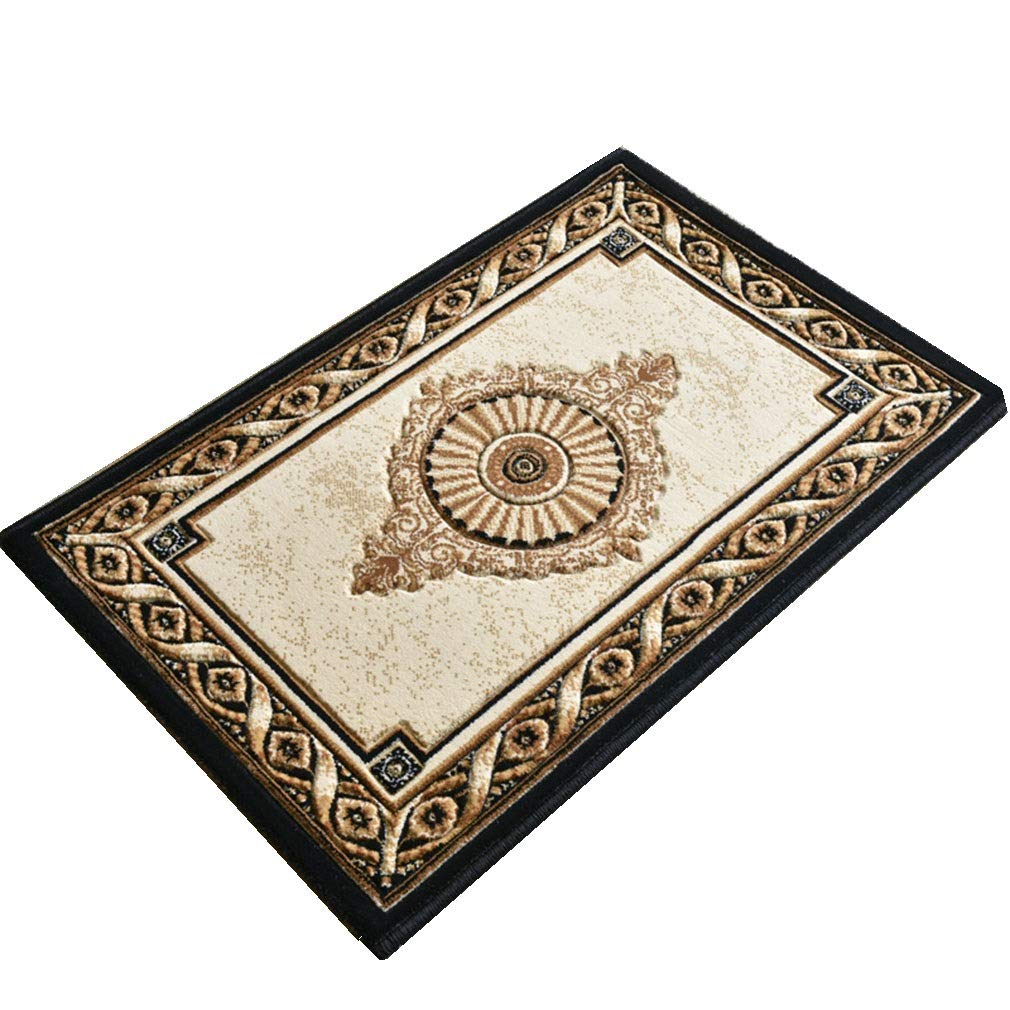 A 50×80cm ZYQJ Entry Door Mat Dongsheng European Style Anti-Skid Durable Stereotype Anti-Wrinkle Porch Living Room Bedroom Bedside Thickness 1.5cm, Plant Flowers (color   A, Size   50×80cm)