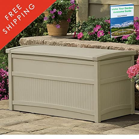 Outdoor Storage Containers For Deck With Lids Multifunctional Patio Storage  Trunk Modern Box Taupe Shed Garden