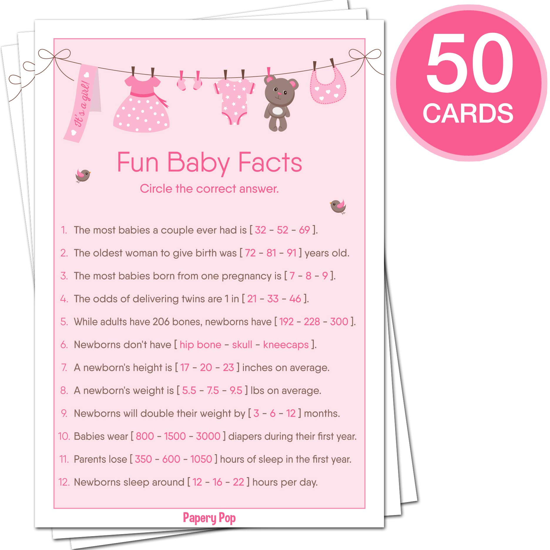 Baby Shower Games for Girls - Set of 5 Activities - (50 Cards Each, 250 Total) - Baby Shower Supplies by Papery Pop (Image #3)