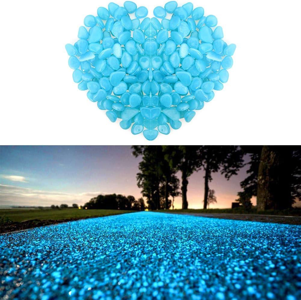 giardino decorazione. passerella Wiewish 100pcs Pietre luminose Luminous Pebbles Decorazione artificiale Pietra Glow in the Dark Pebble per acquario