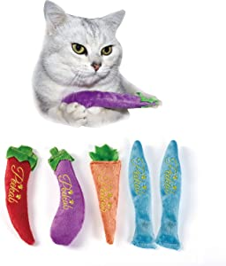 PEEKAB 5Pcs Catnip Toy Plush Cat Chew Interactive Toys Cat Mice & Animals Toys for Indoor Cats and Kittens Over 6 Months Old