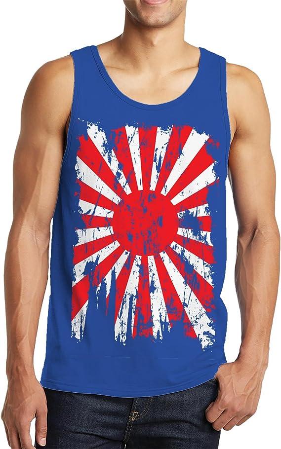 Cybertela Mens Faded Distressed Japan Flag Tank Top
