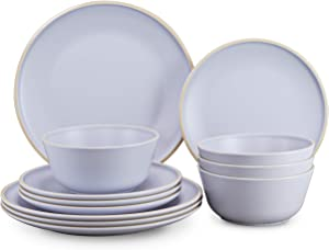 Gufaith Melamine Dinnerware Sets for 4,12 Piece Plates and Bowls Sets,Christmas Dinnerware,Unbreakable BPA Free (Sky Blue)