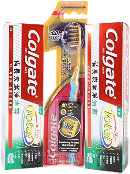 6 Pack Colgate total 12H Charcoal Deep Clean Gel pasta de dientes (2 x 150 g) + oro cepillo de dientes: Amazon.es: Belleza