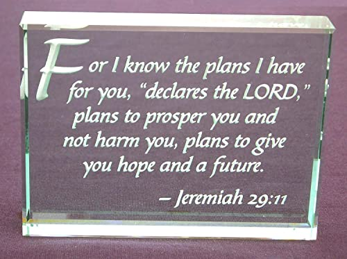 Jeremiah 29 11 Bible Verse Hand Etched Glass Paperweight