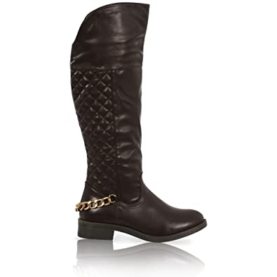 d2fc14adfec WOMENS LADIES MID CALF QUILTED RIDING BOOTS CHAIN UNDER KNEE SHOES ...