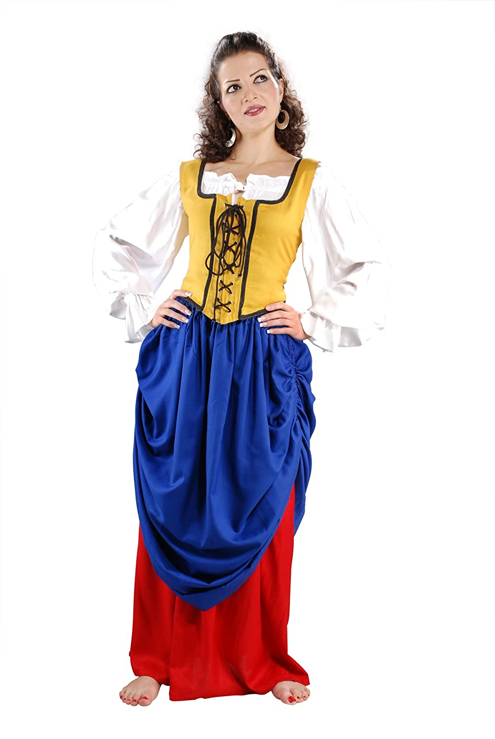 Women's Double-Layer Denim Blue and Red Medieval Renaissance Skirt by Armor Venue - DeluxeAdultCostumes.com