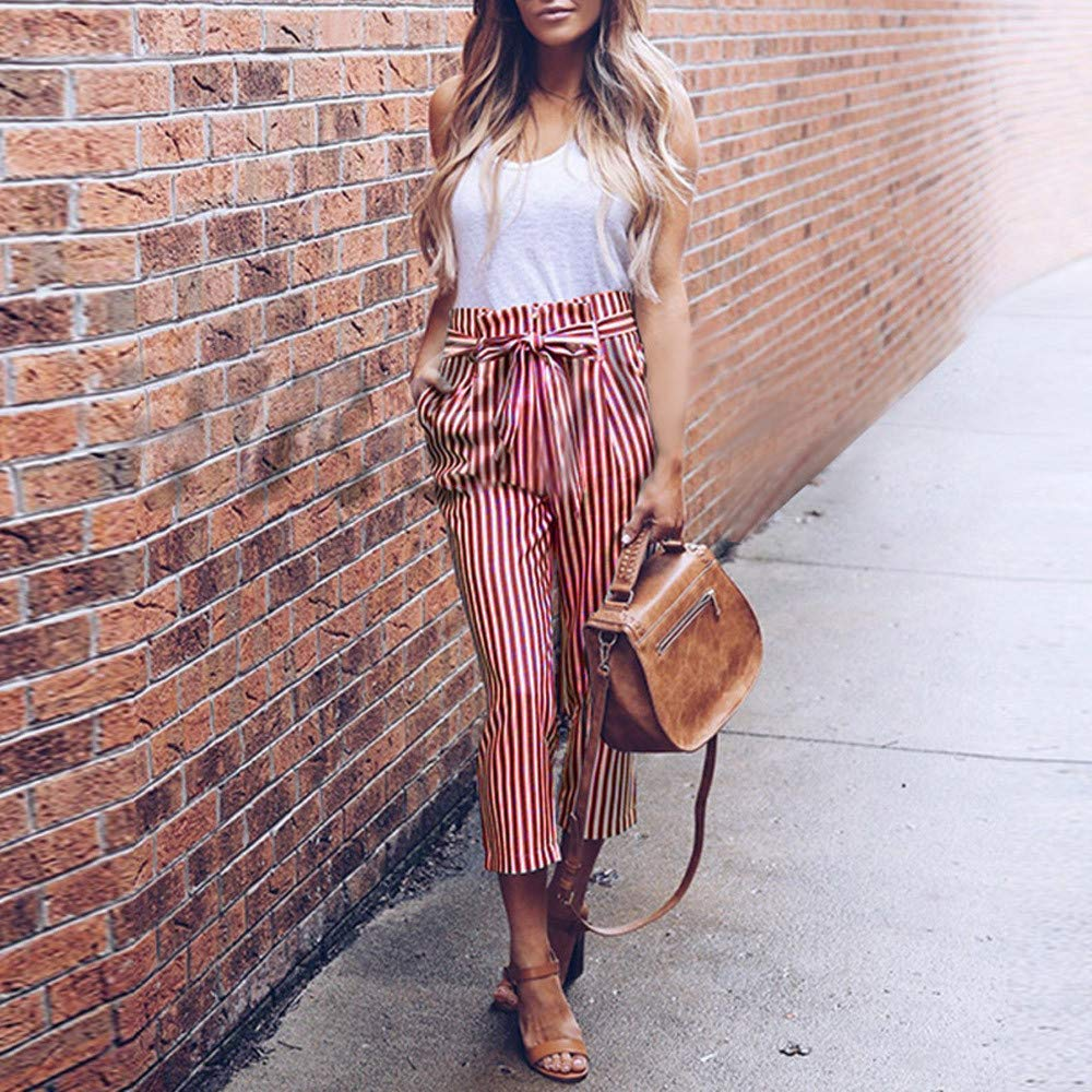 Cyswi High Waist Women Harem Pants Long Elastic Bowtie Trousers Stripe Casual Pants with Bowknots Red Elegant Office Clothing