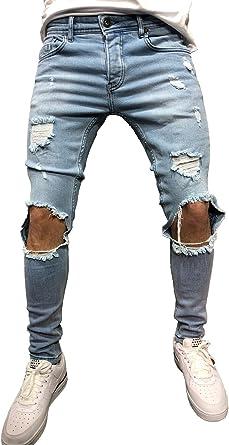 Amazon Com Sarriben Vaqueros Para Hombre Con Agujero Roto En La Rodilla Ajustados Color Azul Clothing