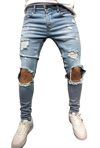 Amazon.com: sarriben para hombre rodilla roto agujero Skinny ...