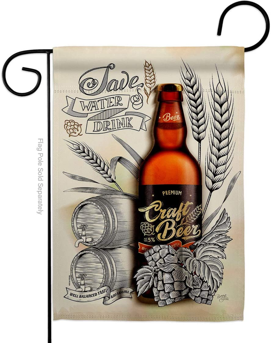 Breeze Decor Craft Beer Garden Flag Beverages Happy Hour Game Pong Party Ale Lager House Decoration Banner Small Yard Gift Double-Sided, Made in USA