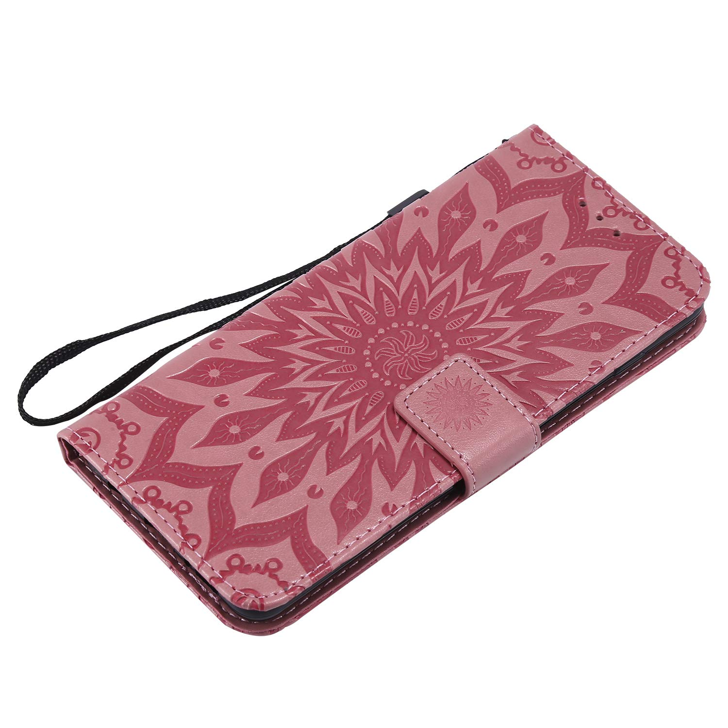Galaxy S10 E Case,Samsung S10 E Case,Wallet Case,PU Leather Case Sun Flower Pattern Embossed Purse with Kickstand Flip Cover Card Holders Hand Strap for Samsung Galaxy S10 E Pink