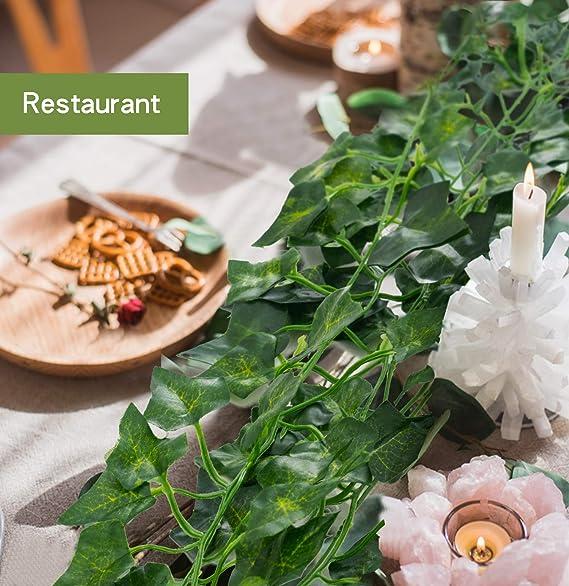 24 Pack Plantas Artificial Decoración Hojas, Hiedra Artificial 53m Garland Plants Hanging Wedding Garland Fake Follaje Flores Inicio Cocina Jardín Oficina Decoración: Amazon.es: Hogar