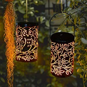 Shengming 2 Pack Hanging Solar Metal LED Lanterns Owl Design Retro Solar Lights with Handle, Outdoor Solar Garden Lights Decor for Yard Tree Fence Patio 20 Lumens Warm White