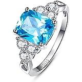 BONLAVIE 4.4ct Cushion Cut Created Swiss Blue Topaz Wedding Band Anniversary Engagement Ring 925 Sterling Silver