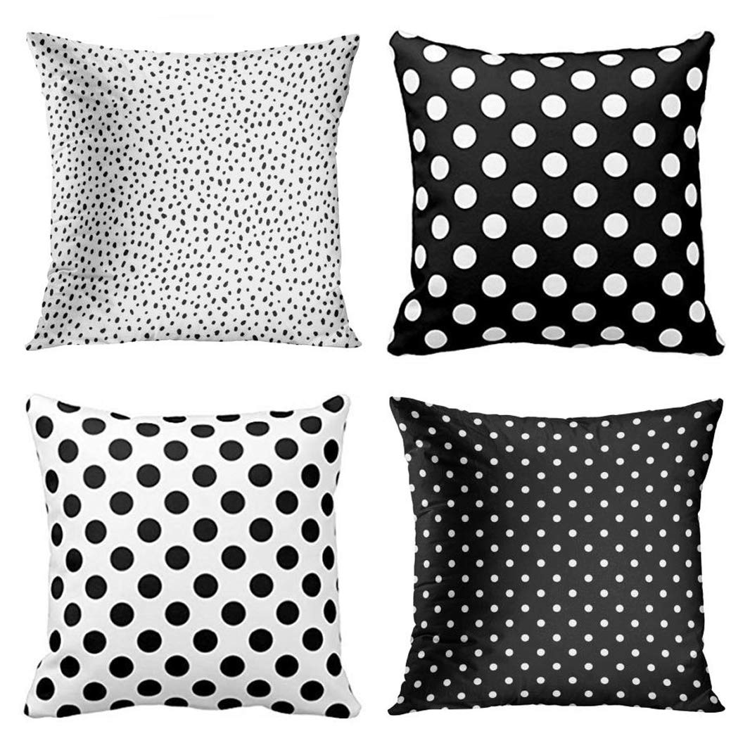 Emvency Set of 4 Throw Pillow Covers Polka Dot Black and White Spot Simple Structure Abstract with Decorative Pillow Cases Home Decor Square 18x18 Inches Pillowcases