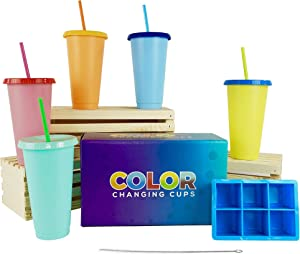 Color Changing Cups - Set of 5 (24 fl oz) with Ice Cube Tray & Straw Cleaner | Reusable Tumblers for Iced Coffee & Beverages | Tumblers with Lids and Straws |