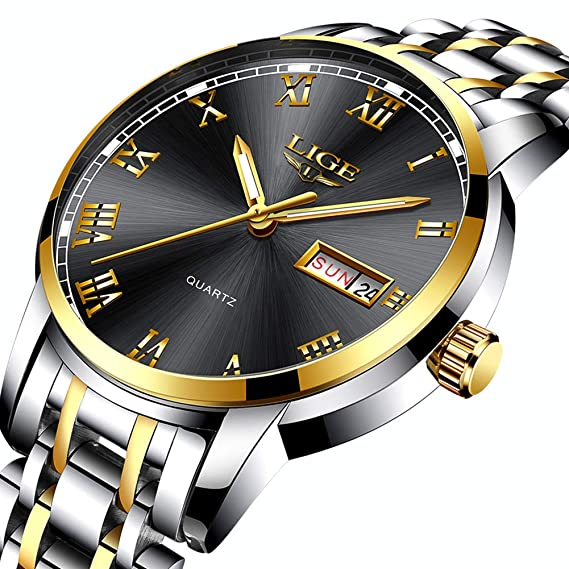 LIGE Relojes Hombre Inoxidable Impermeable Reloj Moda Simple Analógico de Cuarzo Relojs Negro Calendario de Reloj Hombres: Amazon.es: Relojes