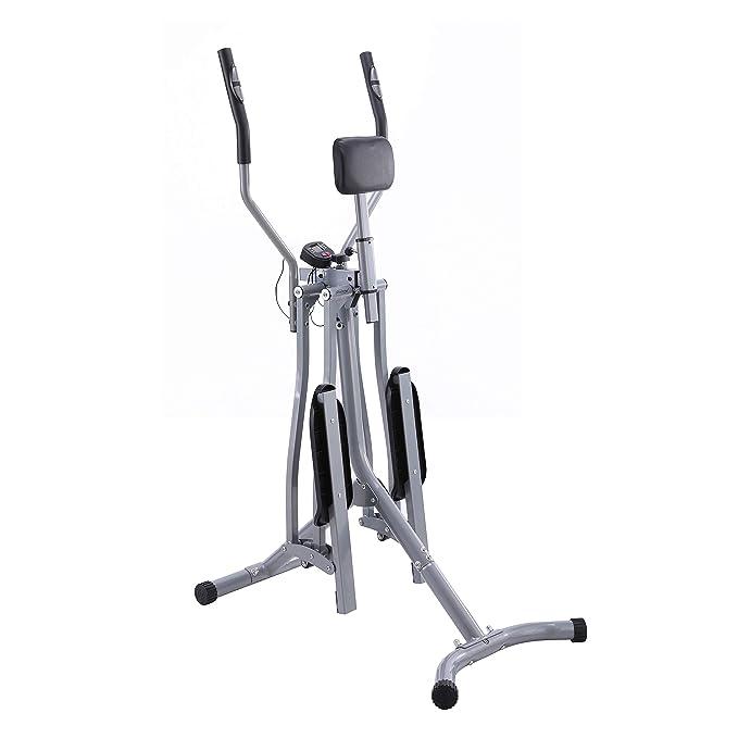 Physionics Bicicleta Elíptica | con Pantalla LCD, Pulsómetro y Soporte Abdominal, de Acero | Cross-Trainer, Máquina de Correr, Air Walker, Caminador, ...