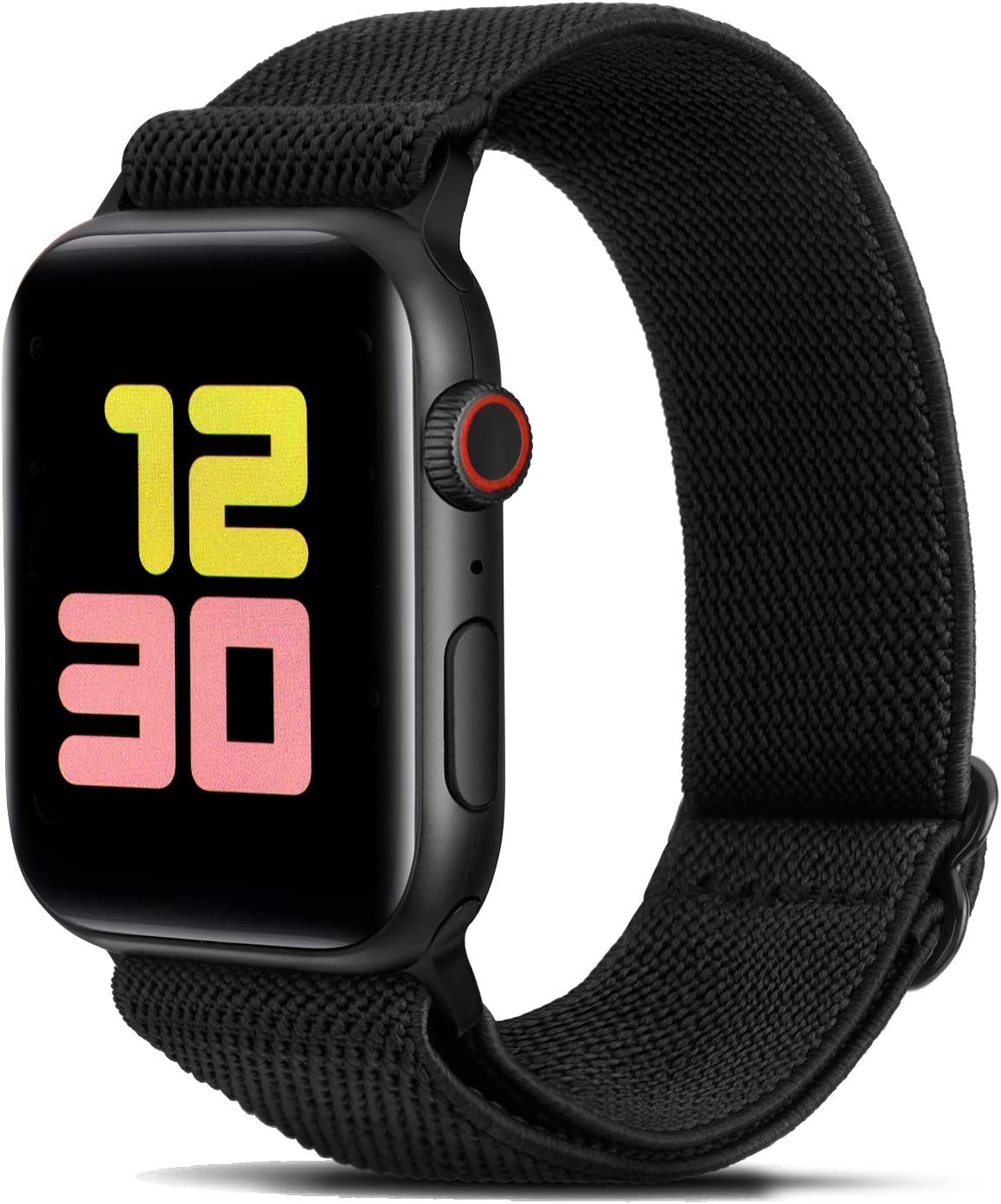 FITWORTH Adjustable Stretchy Nylon Watch Band Compatible with Apple Watch 38mm 40mm, iWatch Series 6 SE 5 4 3, Ultra Soft, Light & Breathable, Suit for Men's Women's Sports & Workout (38/40, Black)